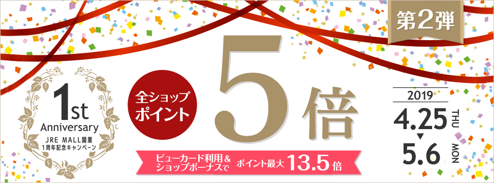 JRE MALL開業1周年記念キャンペーン 第2弾