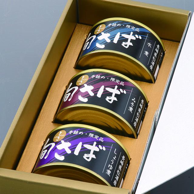 【四国・九州編】長崎県松浦「旬さば」缶詰3缶セット(水煮、味噌煮、醤油煮)送料込