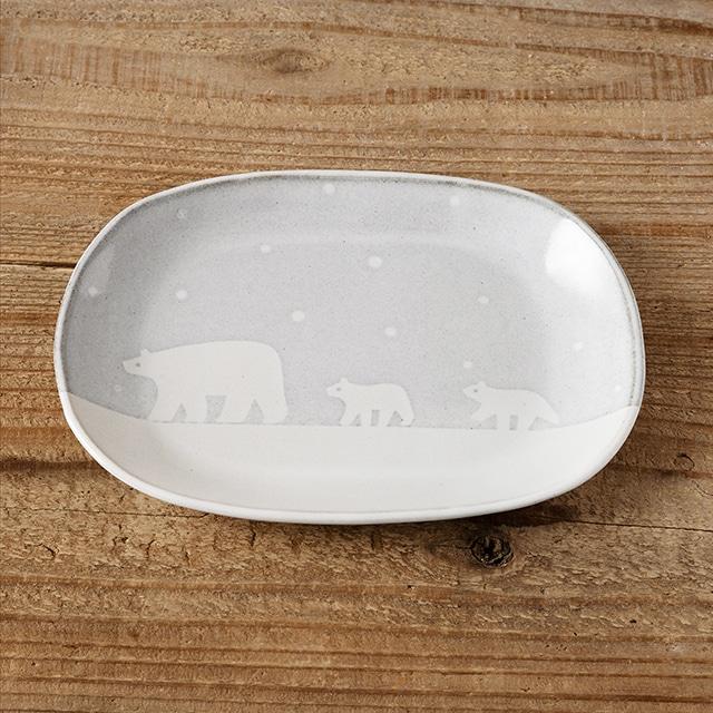 笠間焼 itoga pottery プレートだ円(しろくま)<常磐>