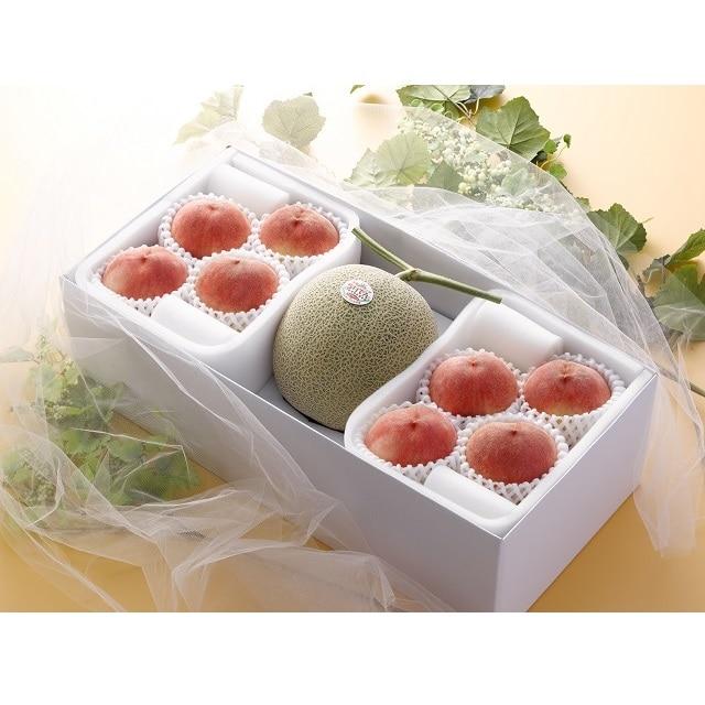 北海道赤肉メロンと桃 赤肉メロン1玉、桃8玉 送料無料【2020SG】