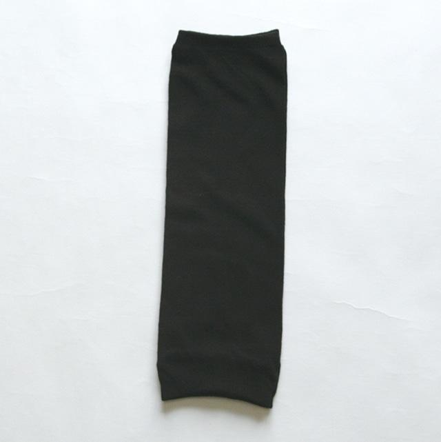 内側シルク 綿薄手レッグウォーマー 鉄黒