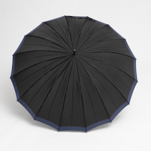 日本橋小宮商店 「橘」 甲州織 長傘 65×16 ブラックブルー