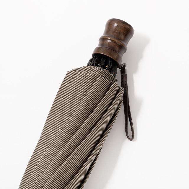日本橋小宮商店 裏縞文様 甲州織 折傘 60×10 グレイッシュブラウン