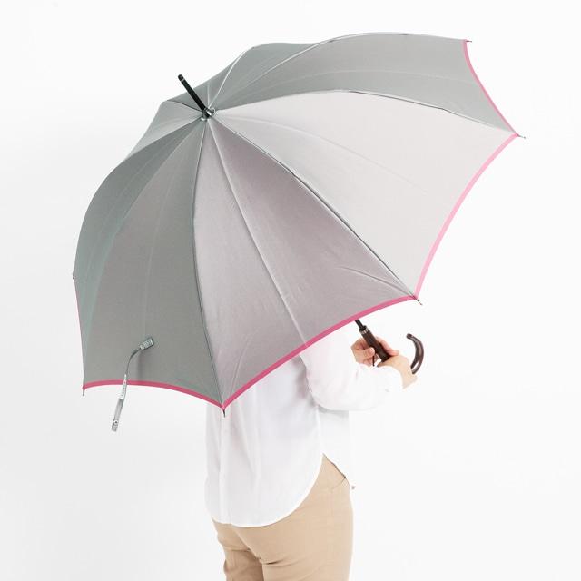 日本橋小宮商店 かさね 長傘 60×8 グレーローズピンク