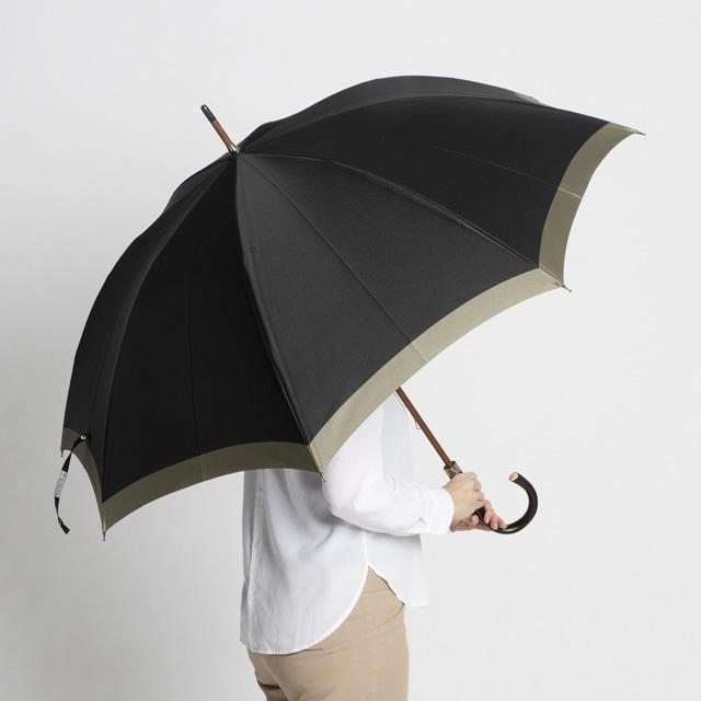 日本橋小宮商店 「橘」 甲州織 長傘 65×8 ブラックベージュ