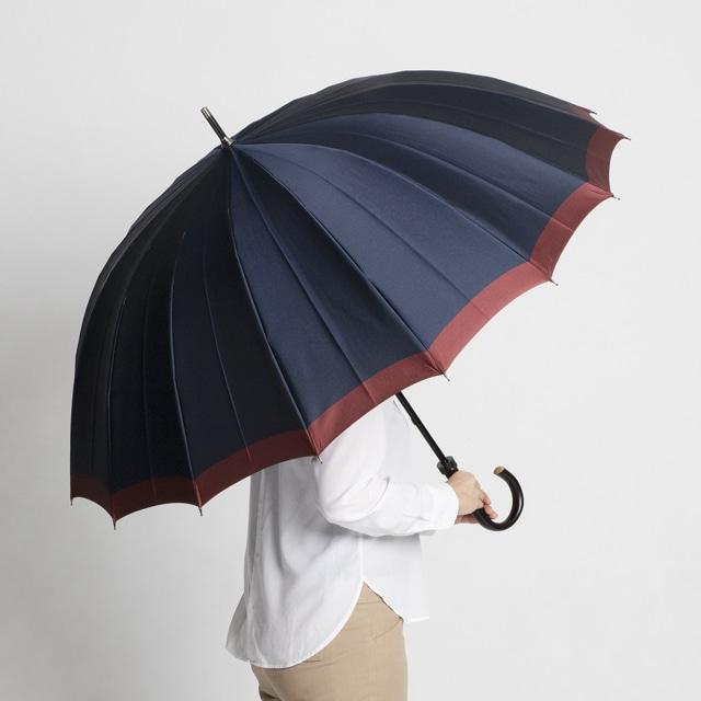 日本橋小宮商店 「橘」 甲州織 長傘 65×16 ネイビーレッド