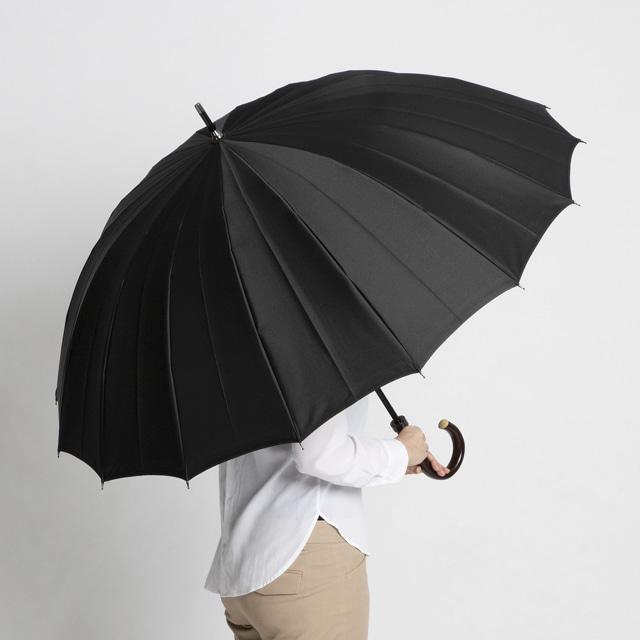 日本橋小宮商店 裏縞文様 甲州織 長傘 65×16 ブラック