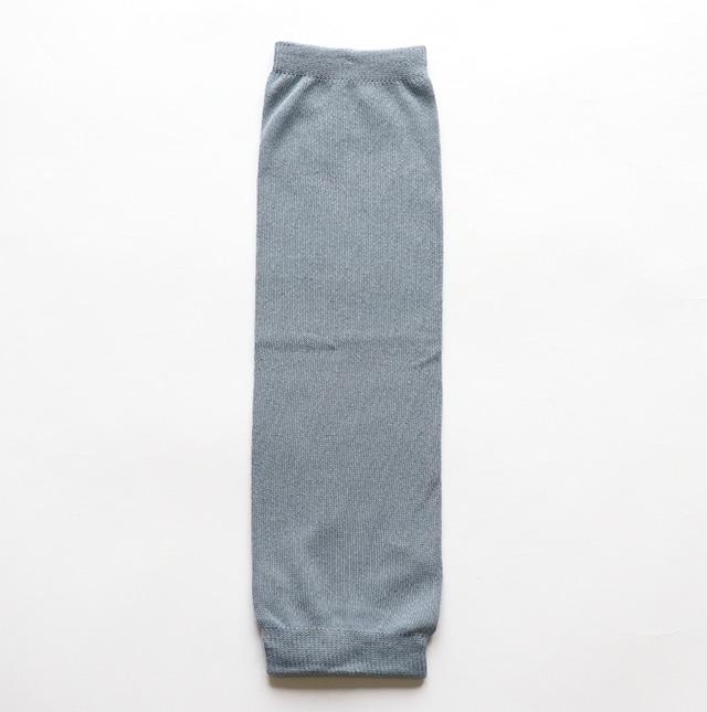 内側シルク 綿薄手レッグウォーマー 青藤