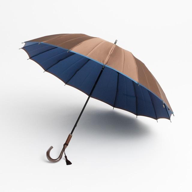 日本橋小宮商店 かさね 長傘 55×16 ブラウンブルー