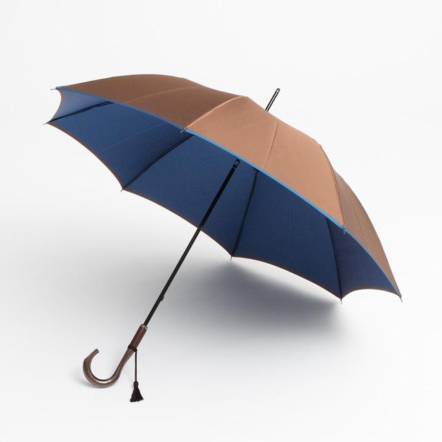 日本橋小宮商店 かさね 長傘 60×8 ブラウンブルー