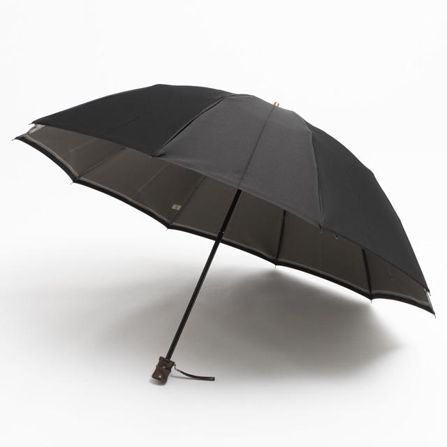 日本橋小宮商店 裏縞文様 甲州織 折傘 60×10 ブラック