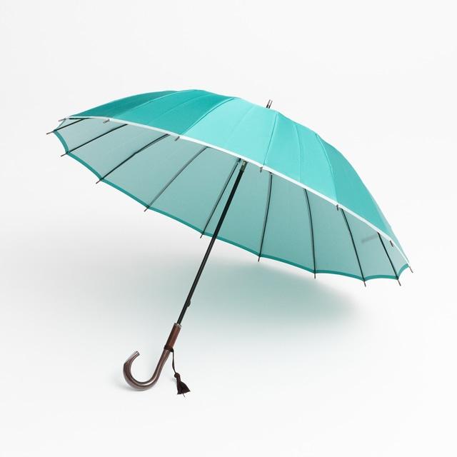 日本橋小宮商店 かさね 長傘 55×16 ミントグリーンホワイト