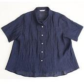 IONO 小千谷縮 五分袖シンプルシャツ 鉄紺