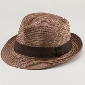 田中帽子ノア太麦中折れ帽子ブラウンL