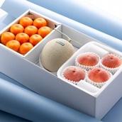 マスクメロンと桃とハウスみかん  メロン1玉、桃4玉、ハウスみかん10玉 送料込【2020SG】