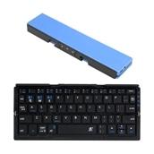 スマホ連動スタンド一体型二つ折りキーボード ブルー
