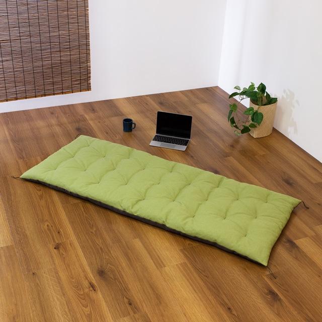 リバーシブルロング座布団 麻(墨黒)×綿(草) 70×170cm