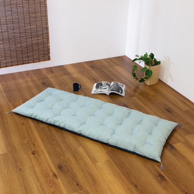 リバーシブルロング座布団 麻(浅葱)×綿(藍) 70 ×170cm