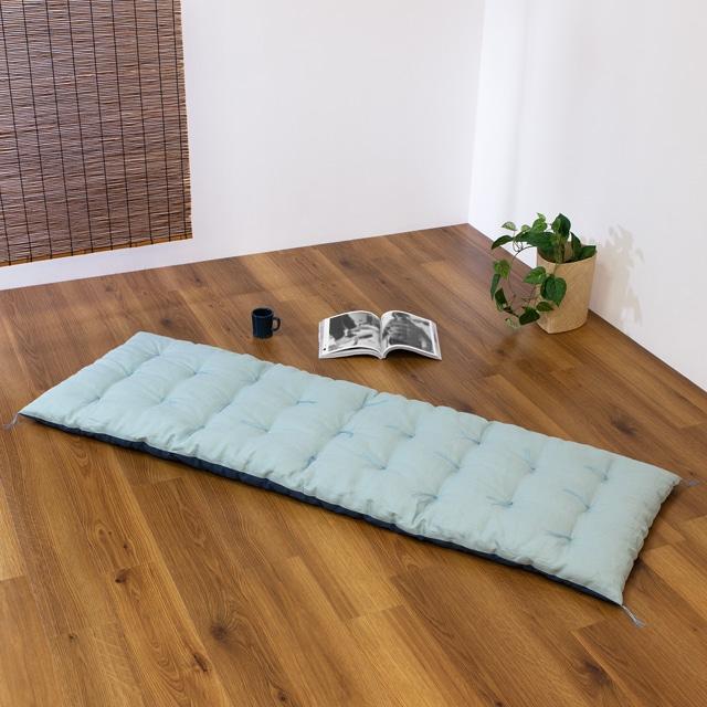リバーシブルロング座布団 麻(浅葱)×綿(藍) 65 ×185cm