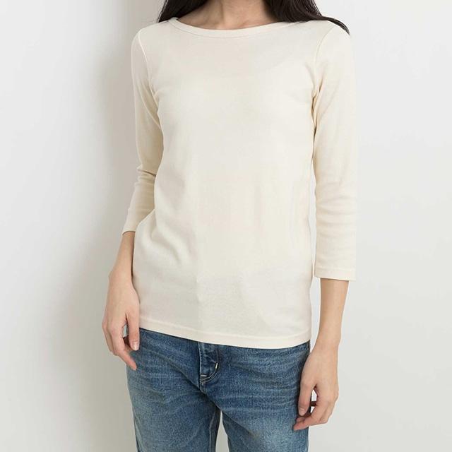 \ポイント5倍/ピープルツリー/オーガニックコットン ベーシックボートネック七分袖Tシャツ生成りS