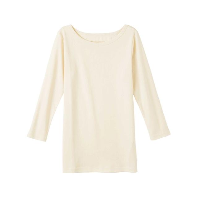 \ポイント5倍/ピープルツリー/オーガニックコットン ベーシックボートネック七分袖Tシャツ生成りM