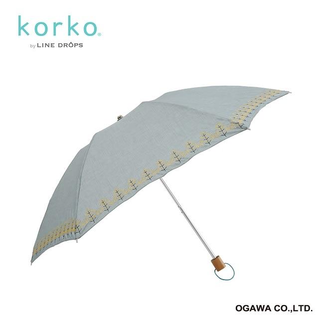 korko 折りたたみ晴雨兼用日傘 菜の花刺繍