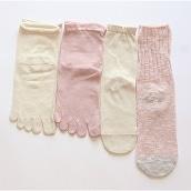 4足重ね履き靴下シルクと綿麻スラブ桜色