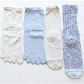 4足重ね履き靴下シルクと綿麻スラブ空色
