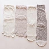 4足重ね履き靴下シルクと綿麻スラブ茶色