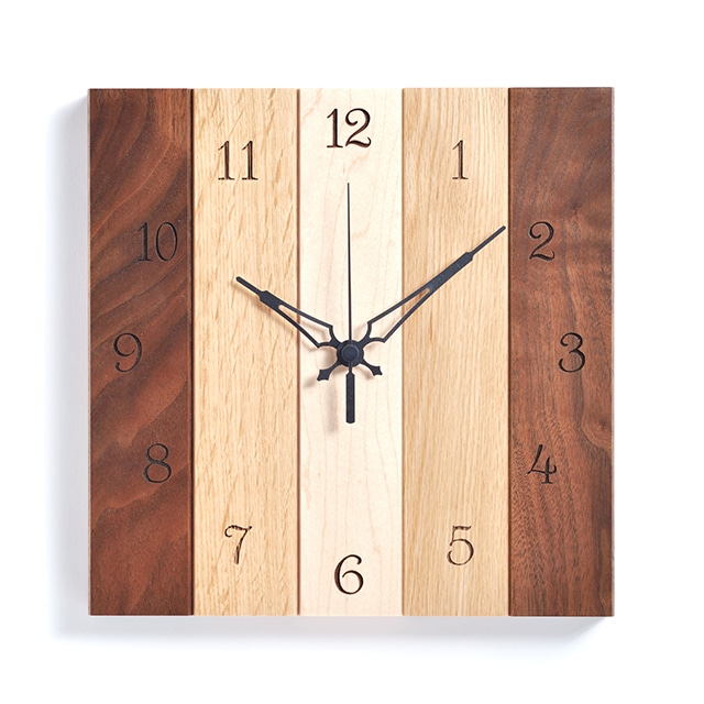 \ポイント5倍/ササキ工芸 木製壁掛け時計 ミックス