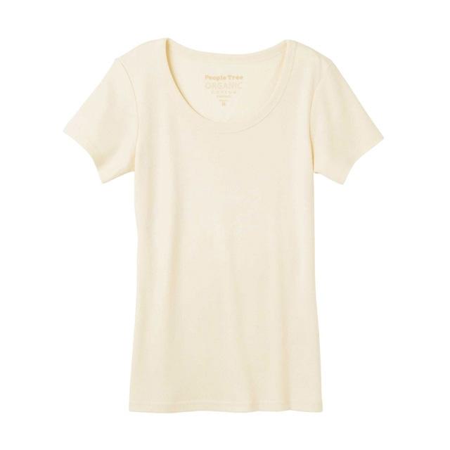 ピープルツリー/オーガニックコットン ベーシッククルーネックTシャツ生成りM