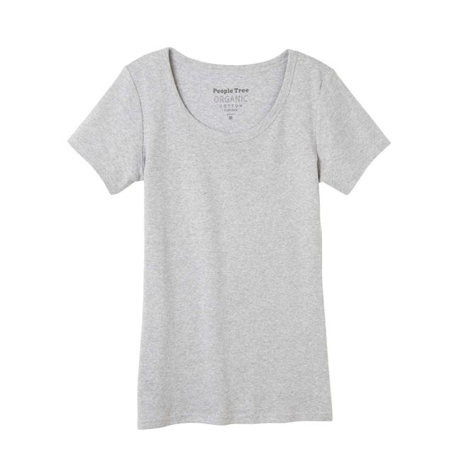 ピープルツリー/オーガニックコットン ベーシッククルーネックTシャツライトグレイメランジ M