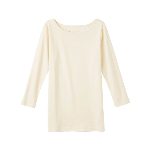 \ポイント5倍/ピープルツリー/オーガニックコットン ベーシックボートネック七分袖Tシャツ生成りL
