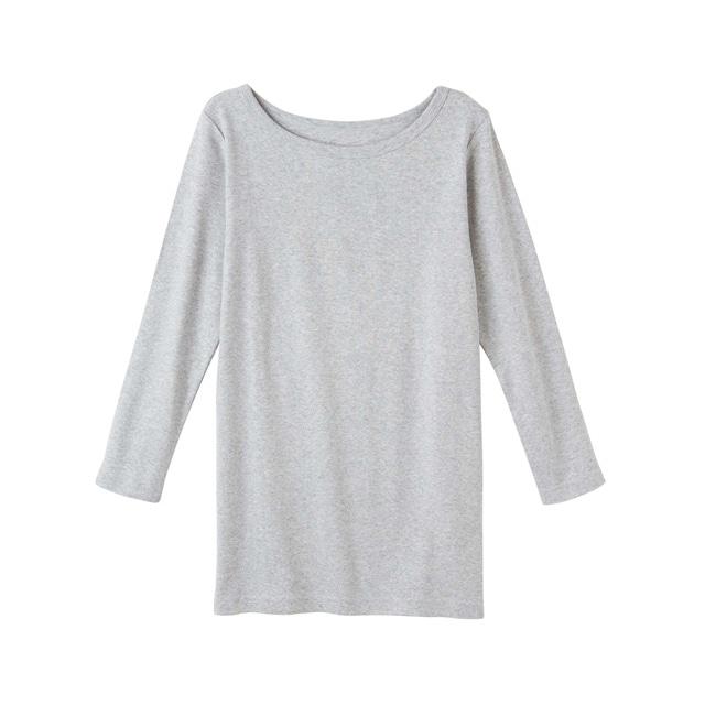 \ポイント5倍/ピープルツリー/オーガニックコットン ベーシックボートネック七分袖Tシャツライトグレイメランジ M