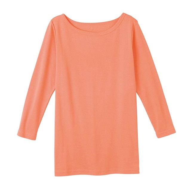 【販売終了】ピープルツリー/オーガニックコットン ベーシックボートネック七分袖TシャツコーラルM