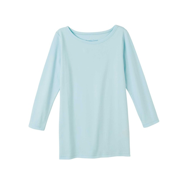 【販売終了】ピープルツリー/オーガニックコットン ベーシックボートネック七分袖TシャツパステルブルーS