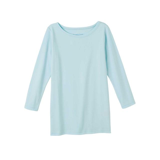 【販売終了】ピープルツリー/オーガニックコットン ベーシックボートネック七分袖TシャツパステルブルーL