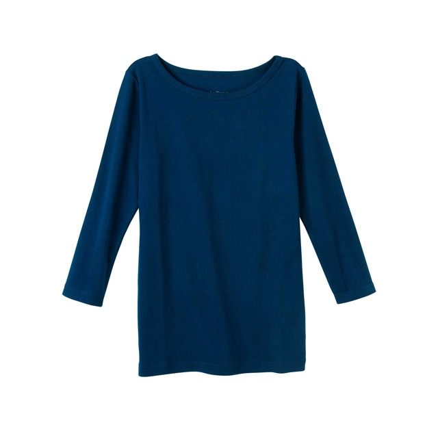 【販売終了】ピープルツリー/オーガニックコットン ベーシックボートネック七分袖TシャツネイビーL