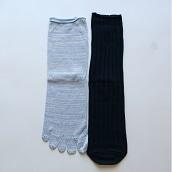絹屋 シルクと綿の2足重ね履き靴下かかとあり紺色