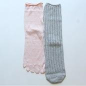絹屋 シルクと綿の2足重ね履き靴下かかとあり銀色