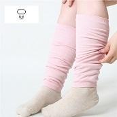 絹屋 内側シルク2重編み薄手レッグウォーマー綿桜色