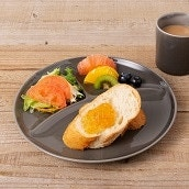 美濃焼 カフェズ 丸型ランチプレート(グレー)