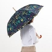 cocca 晴雨兼用長折傘フラワー ネイビーベース