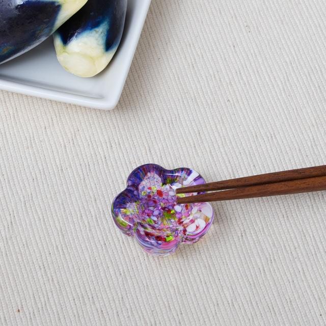 江戸硝子うきよシリーズ 花箸置き 藤まつり