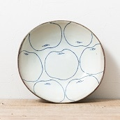 【準備数5個】笠間焼 猪本さやかさんの 梨柄 深だ円皿
