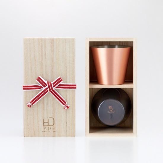 純銅製カップ 2個セット マット・ブラウン