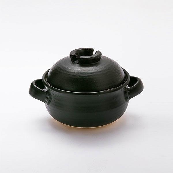 [三重県]陶器の炊飯鍋(2合炊・萬古焼・黒しずく/中蓋付き)<:V03981999028:>