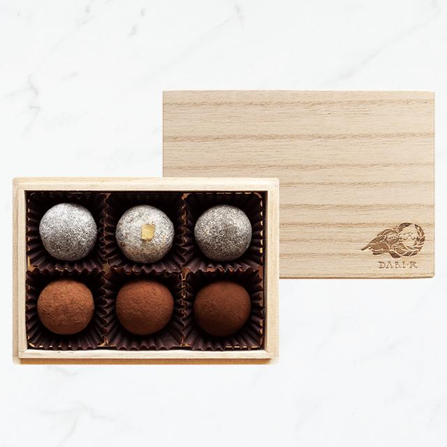 【6粒木箱入】カカオが香るチョコレート・トリュフ