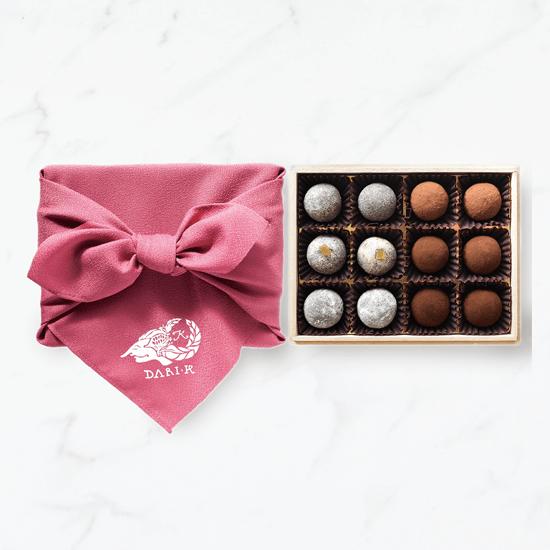 【12粒木箱入・風呂敷(ピンク)】カカオが香るチョコレート・トリュフ
