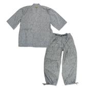 たてスラブ作務衣 No.4 グレー 3L